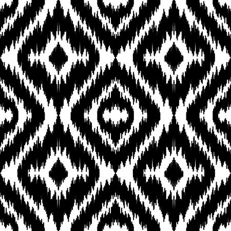 Ethnic Seamless Black And White Pattern Boho Abstract Textile Print Geometric Wallpaper Vector