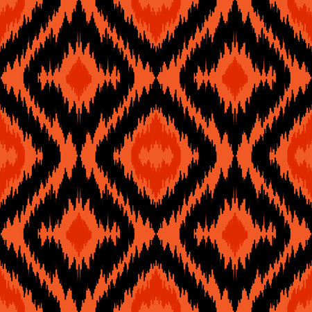 Ethnic seamless black and orange pattern. Boho abstract textile print. Geometric wallpaper