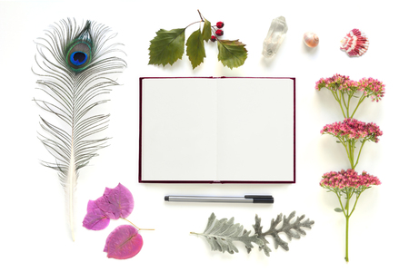 composition notebook: Flat lay composition from natural objects and notebook on white background. frame for art works, mock ups, wishes, congratulations, greeting cards. Stock Photo