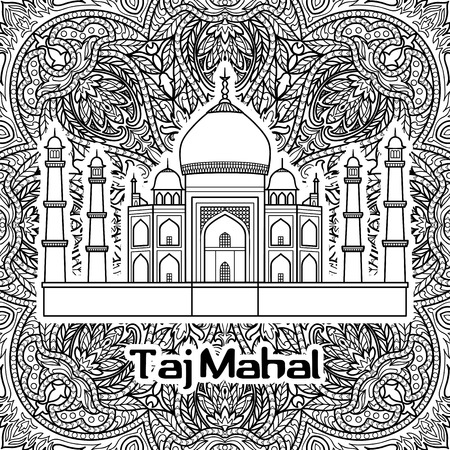 taj: India pattern with Taj Mahal on floral mandala background. Black and white coloring page. Illustration