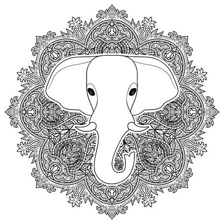 Elefante Indio En El Fondo Del Ornamento De La Mandala. Símbolo De ...