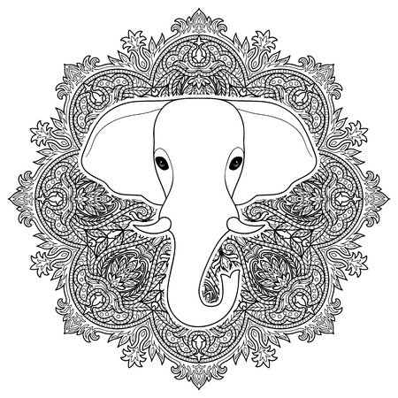 kundalini: Indian elephant on mandala ornament background. Symbol of India. Black and white coloring page, tattoo sign, textile print