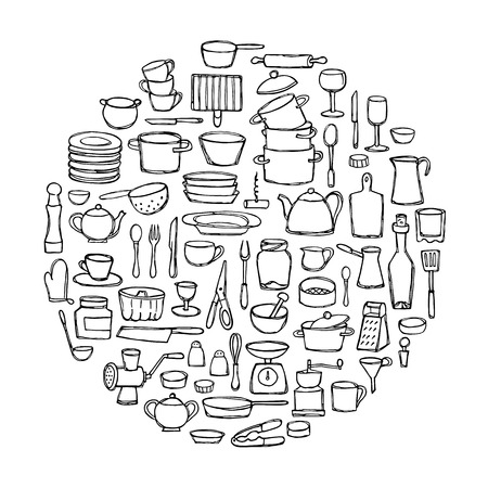 kitchen doodles. Circle coloring page. Sketch of kitchen objects and equipment Illustration