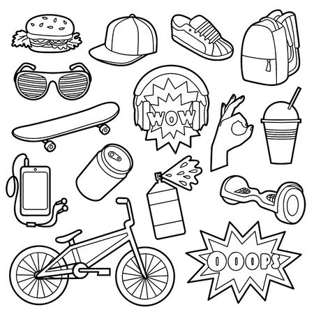 original bike: Fashion Patch Set with teenager and sport objects. Pin badges set. Stickers collection. Appliques for denim or clothes. Black and white coloring page.