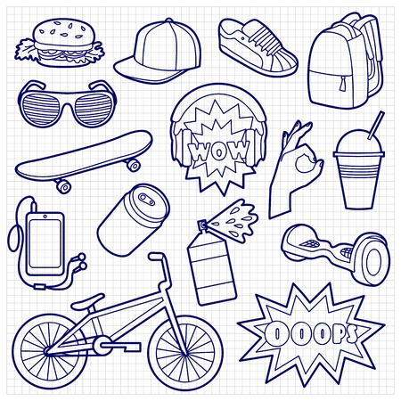 original bike: Fashion Patch Set with teenager and sport objects. Pin badges set. Stickers collection. Sketch of appliques for denim or clothes on squared paper.