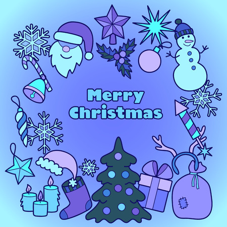 patches: Christmas Greeting Card with Blue Patches. Stickers New Year collection. Merry Christmas