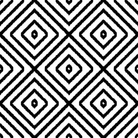 Ethnic geometric seamless black and white pattern. Square textile print