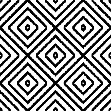 Ethnic geometric seamless black and white pattern. Square textile print