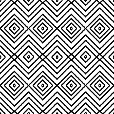 ethno: Geometric seamless black and white pattern. Square abstract textile print