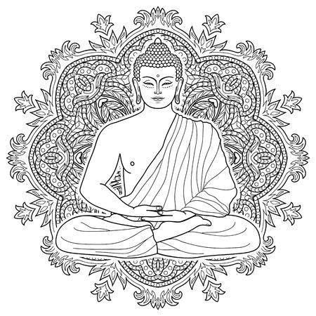 Vector Blanco Retrato De Buda Para Colorear Adultos Ornamental, El ...