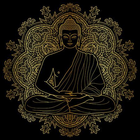 Sentado esquema del oro de Buda en posición de loto en el fondo redonda Mandala aislado en negro. Inscripción para el tatuaje, impresión textil, mascotas y amuletos. para colorear esotérico. Foto de archivo - 68606947