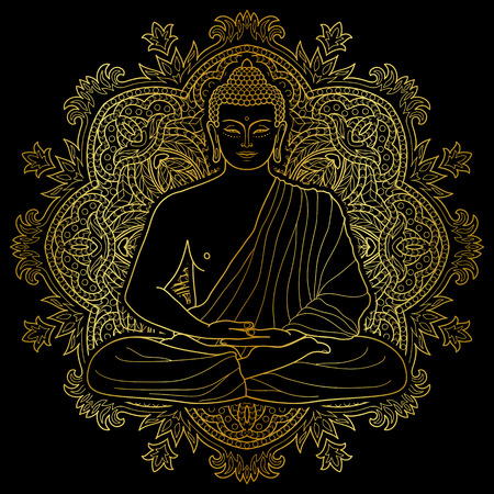 Sitting outline Gold Buddha in Lotus position on mandala round background isolated on black. Sign for tattoo, textile print, mascots and amulets. Esoteric coloring page.