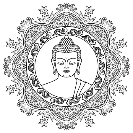 buddha head: Buddha head with round mandala decoration. Sign for tattoo, textile print, mascots and amulets. Black and white coloring page Illustration