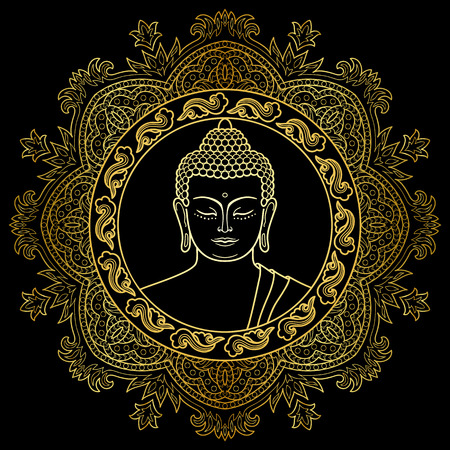 buddha head: Buddha head with round mandala decoration. Gold sign for textile print, mascots and amulets.
