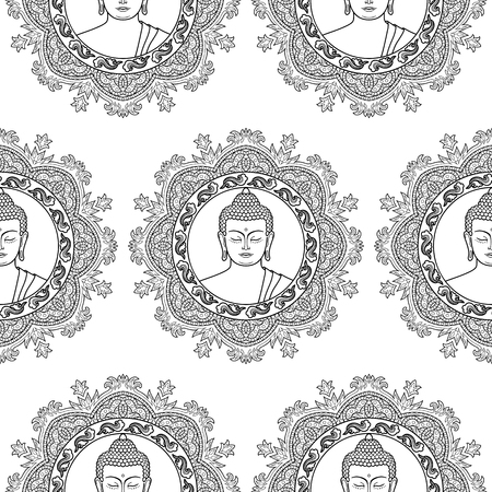 buddha head: Seamless pattern of Buddha head with round mandala decoration. Sign textile print, mascots and amulets. Black and white coloring page