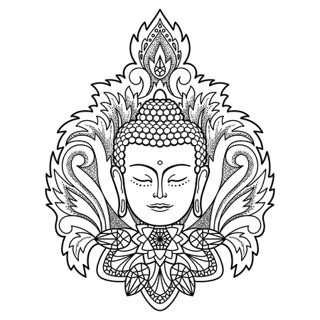 buddha head: Buddha head with floral decoration. Sign for tattoo, textile print, mascots and amulets. Black and white coloring page