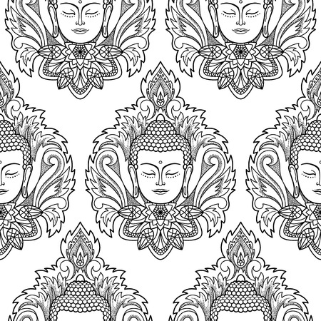 buddha head: Buddha head with Lotus seamless pattern. Spiritual wallpaper. Black and white coloring page