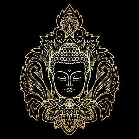 buddha head: Gold Buddha head with floral decoration. Sign for tattoo, textile print, mascots and amulets on black background. Illustration