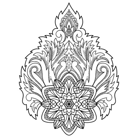 Abstract decorative Lotus. Floral symbol for amulets, textile prints, tattoos, coloring page