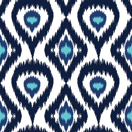 Ethnic seamless blue and white pattern. Boho winter textile print. Geometric wallpaper with abstract rhombus and peacock feathers. Illustration