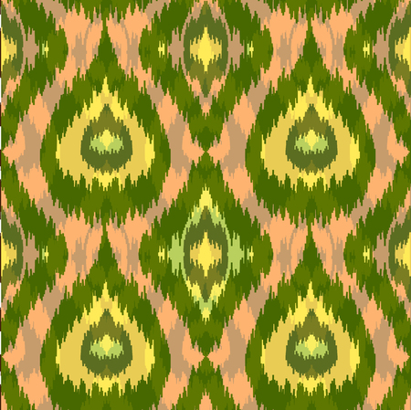 Ethnic seamless green pattern. Boho summer textile print. Geometric wallpaper with abstract rhombus and peacock feathers. Illustration