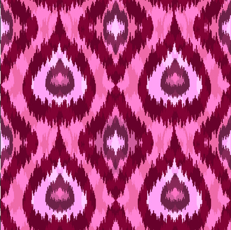 Ethnic seamless pink pattern. Boho romantic textile print. Geometric wallpaper with abstract rhombus and peacock feathers.