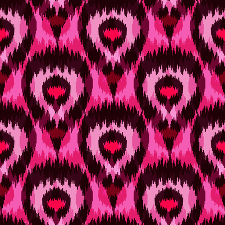 Ethnic seamless pink pattern. Boho romantic textile print. Geometric wallpaper with abstract peacock feathers.