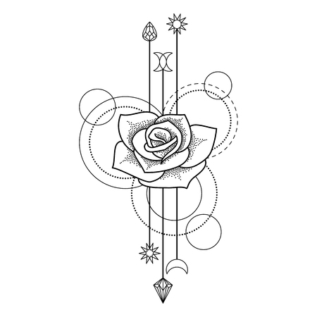 rose tattoo: Abstract floral techno tattoo with rose and geometric elements on white background
