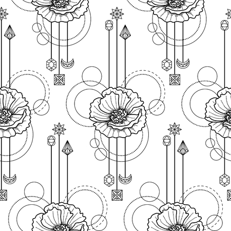 Abstract floral techno seamless pattern with poppy and geometric elements on white background Ilustração