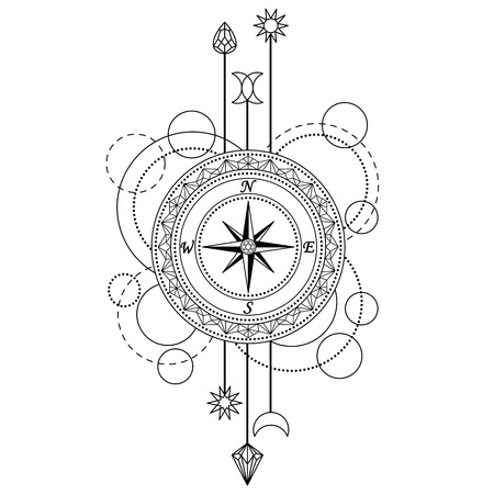 Abstract techno pattern with compass and geometric elements on white background. Modern tattoo symbol. Coloring page Illustration
