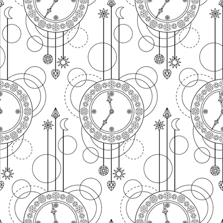 timekeeper: Abstract techno seamless pattern with clock and geometric elements on white background. Modern wallpaper. Coloring page