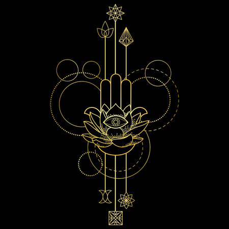 Abstract techno tattoo of gold hand of Fatima, lotus and eye with geometric elements on black background. Tattoo symbol. Modern textile print.