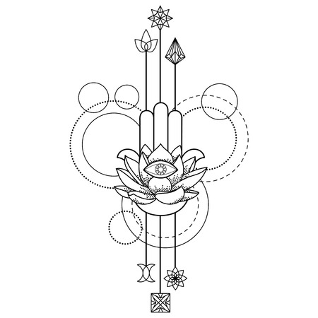 Abstract techno tattoo of hand of Fatima,  and eye with geometric elements on white background. Tattoo symbol. Coloring page
