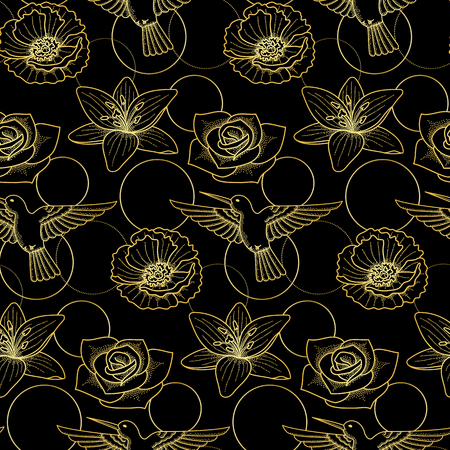 Seamless pattern with gold colibri and flowers on black background. Modern textile print