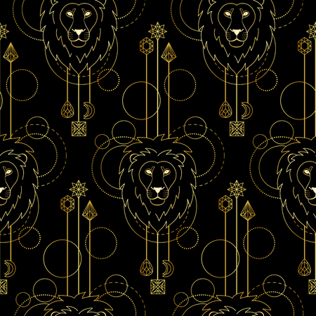 Abstract techno seamless pattern with gold lion and geometric elements on black background. Tattoo textile print.