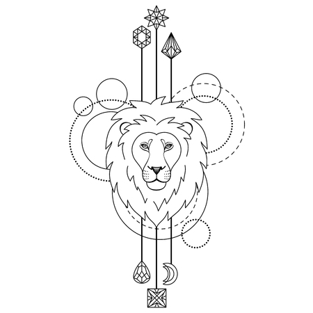 Abstract techno pattern with lion and geometric elements on white background. Tattoo modern textile print. Coloring page.