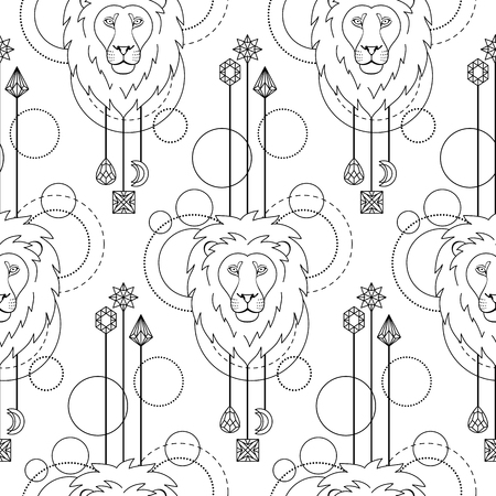 Abstract techno seamless pattern with lion and geometric elements on white background. Tattoo textile print. Coloring page.