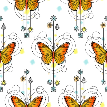 aquarell: Butterfly Watercolor Seamless Pattern Illustration