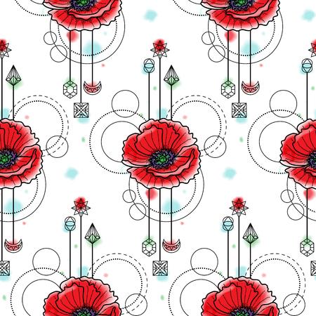 Watercolor Poppy Seamless Pattern Иллюстрация