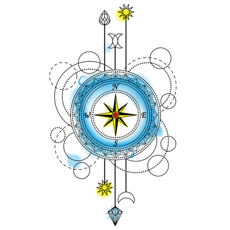 Abstract Compass Tattoo