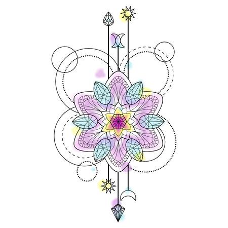 Abstrakt Techno Muster Mit Mandala Und Geometrischen Elemente Auf ...