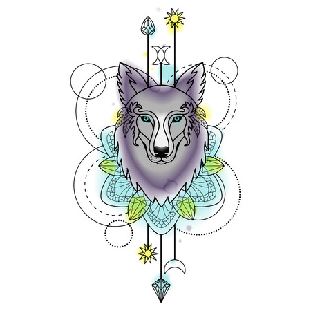 aquarell: Abstract Wolf Watercolor Tattoo Illustration