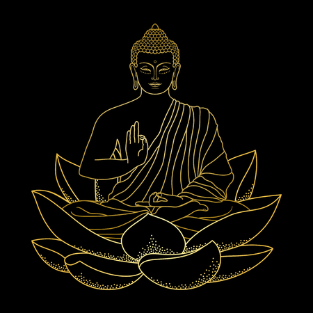 Gouden Boedha zittend op Lotus