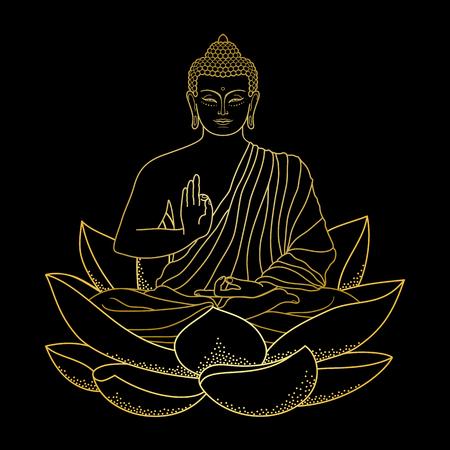 L'oro Buddha seduto su Lotus