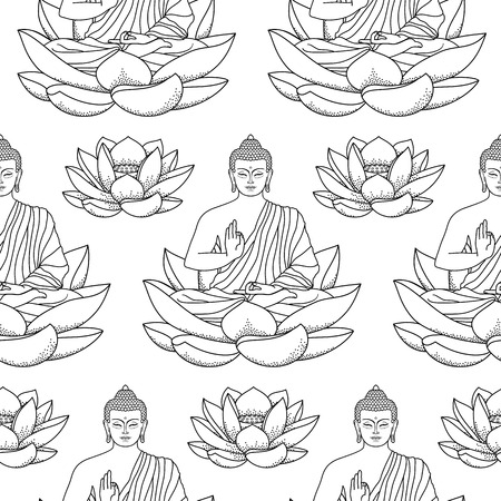 thai buddha: Buddha sitting on Lotus Seamless Pattern