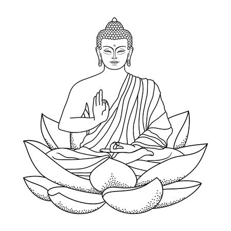 Buddha sitzt auf Lotus