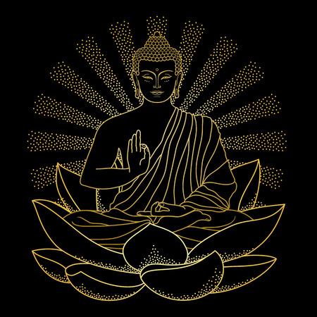 buddha statue: Gold Buddha sitting on Lotus with beam of light Illustration