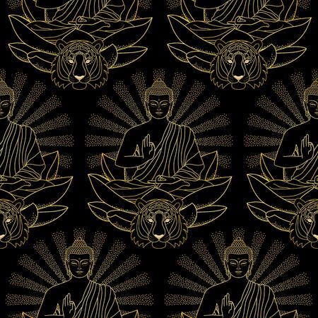 budda: Pattern of Gold Buddha, Lotus and Tiger. Illustration