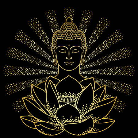 Gold Buddha and Lotus with beam of light Illustration