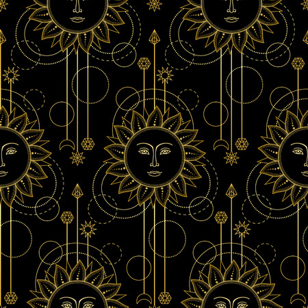 modern: Gold Sun Modern Pattern Illustration